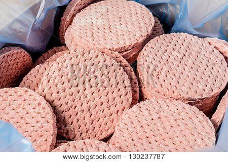 frozen burger meat