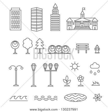 Linear landscape elements icons set. Line buildings trees, flowers, plant and bench. Design set graphic