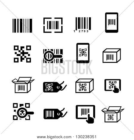 QR code and Bar code icons set. Scan coding, sticker identification. illustration