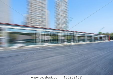 bus stop near asphalt road in hangzhou