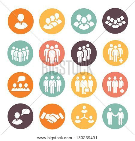 Human resources and management people icons set. Teamwork group buttons. .