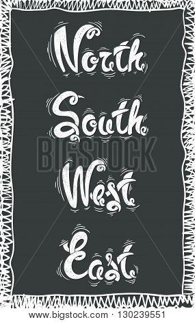 North, south, west, east,  vector hand drawn letters EPS10