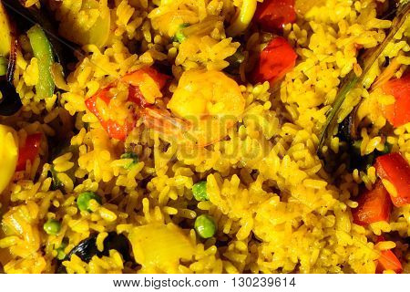 Spanish paella with shrimps and mussels and saffron