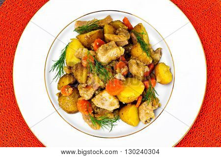 Stewed Quince with Potatoes, Carrots, Onions and Meat Studio Photo