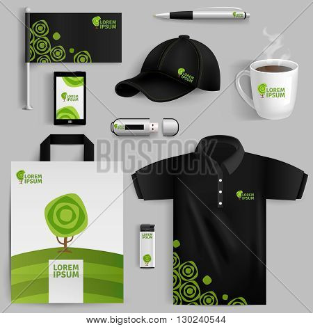 Decorative elements of corporate identity with green tree symbol in realistic style with pen usb flash drive bag cup baseball cap isolated vector illustration
