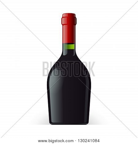 Wine, Cognac, Brandy Or Whiskey Bottle Short And Stout On White Background Isolated. Ready For Your Design. Product Packing Vector EPS10