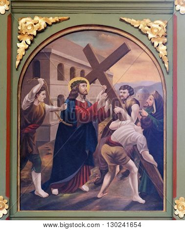 STITAR, CROATIA - AUGUST 27: 5th Stations of the Cross, Simon of Cyrene carries, church of Saint Matthew in Stitar, Croatia on August 27, 2015