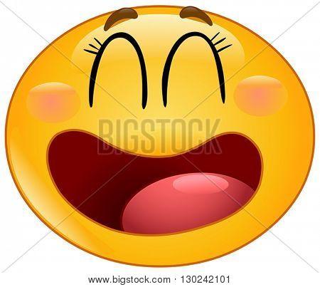 Manga yellow ball laughing with closed eyes