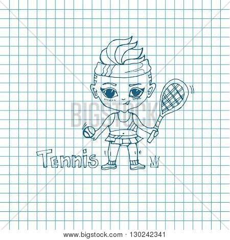 Vector sketch girl tennis-player in chibi style