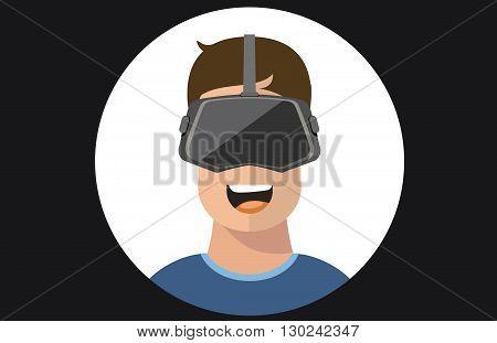 Virtual reality VR glasses man vector flat icons