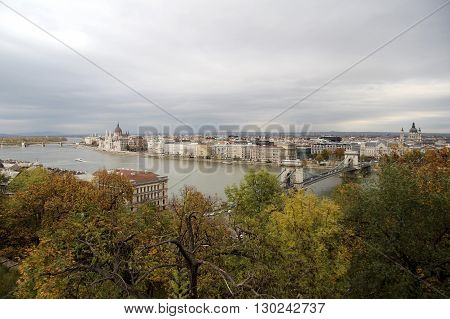 Hungary view on the Budapest city Szechenyi Chain Bridge Parlament and Danube River in autumn