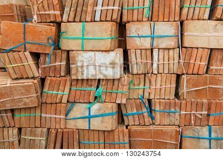 Group Of Red Bricks For Building Construction
