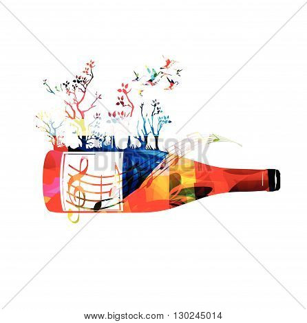 Vector illustration of colorful bottle with hummingbirds