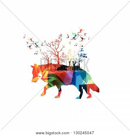 Vector illustration of colorful wolf with hummingbirds