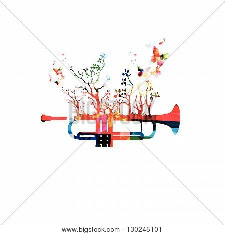 Colorful music background with trumpet and butterflies