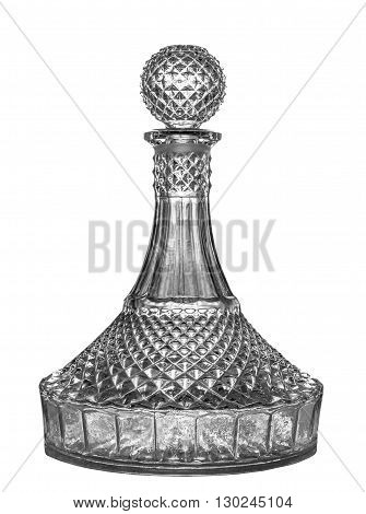 Crystal decanter for brandy. Isolated on white.