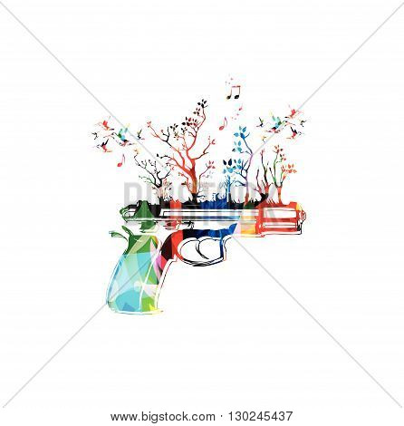 Vector illustration of colorful pistol with hummingbirds