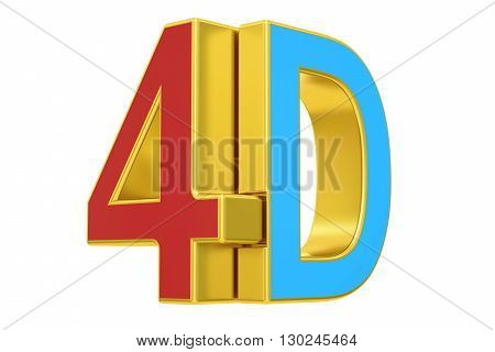 4D logo 3D rendering isolated on white background