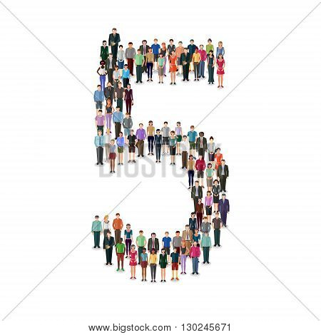 Large group of people foming number 5 on white background: different casual people collection