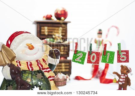 Decoration for Christmas with hanging numbers and some candies