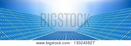 Concept illustration with solar panels on the background of clear sky