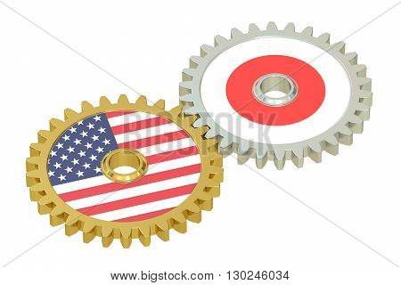 Japan and United States relations 3D rendering isolated on white background