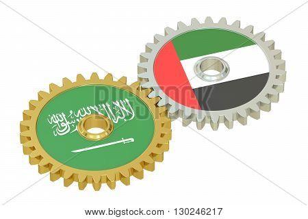Saudi Arabia and UAE relations concept 3D rendering