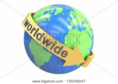 Worldwide concept 3D rendering isolated on white background