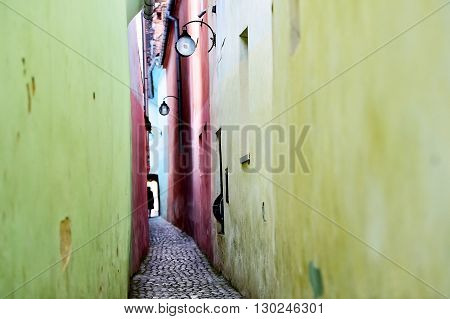Famous Rope Street or String Street the narrowest street in Transylvania's Brasov city and one of the narrowest streets in Europe