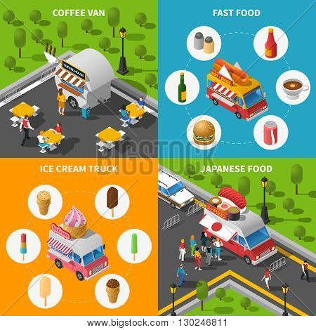 Street Food Isometric Concept. Street Food Car Icons Set. Street Food Cart Vector Illustration. Street Food Truck Symbols. Street Food Truck Design Set.  Street Food Van Elements Collection.