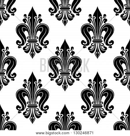 Vintage black and white floral seamless pattern with stylized fleur-de-lis motif ornated by curly decorative elements. Great for upholstery textile or wallpaper design usage