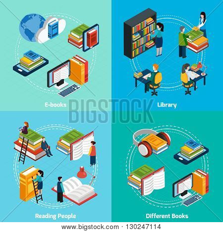 Isometric 2x2 compositions presenting classic library e-books reading people and different types of books vector illustration