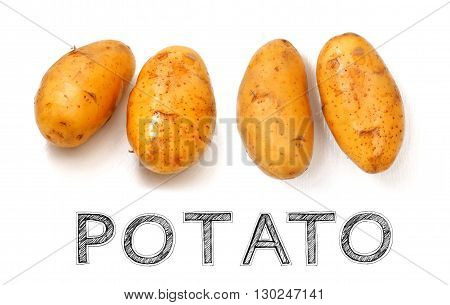 Potato vegetable raw material for cook to made soup or French fried on white wood chair photo isolate in my kitchen and have design my font free hand word.