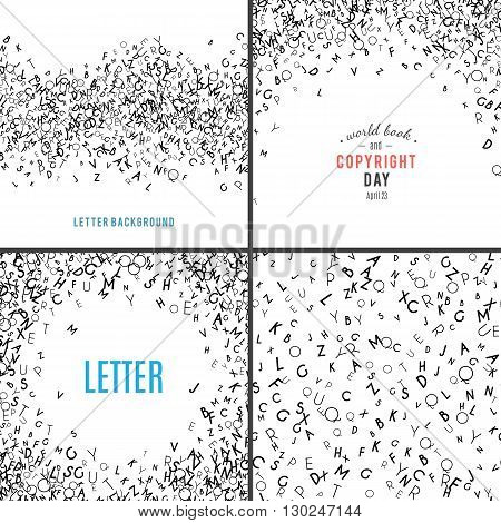 Set of random letters patterns. Abstract background with alphabet. Creative wallpaper design in office style. Mix of letter. Latin ABC. Promotion of reading publishing and copyright. Vector collection