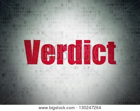 Law concept: Painted red word Verdict on Digital Data Paper background