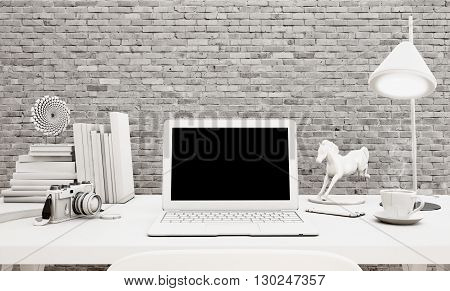 3D Laptop Computer On A Desk In Office Workspace