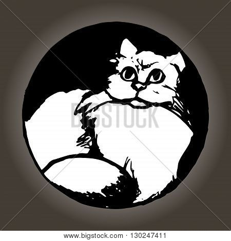 Graphic image of a cat. Cat sitting in your house. Abstract illustration vector