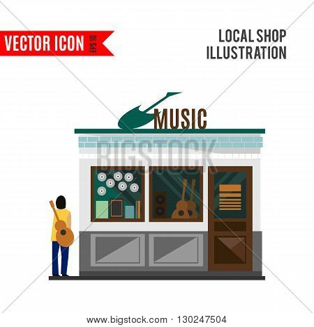Music shop icon isolated on white background. Vector illustration for musical design. Retail store with people. Instruments sale business. Guitar for guitarist. Simple leisure sign Cartoon flat market