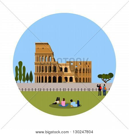 Colosseum icon isolated on white background. Vector illustration for famous italy building design. Travel italian postcard. Classic rome landmark symbol. Touristic ruin culture europe architecture