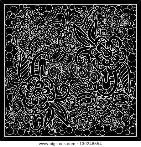 Black and white abstract bandana print with fantasy flower. Square pattern design for pillow carpet rug. Design for silk neck scarf kerchief hanky