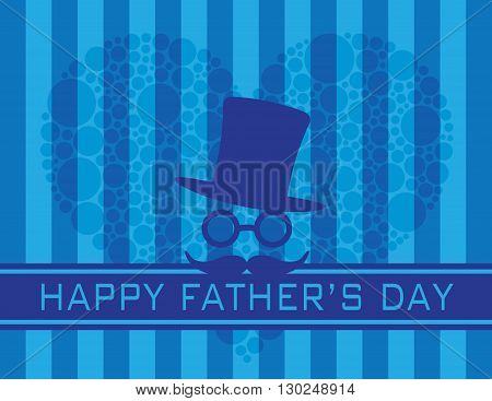 Happy Father's Day Text Hat Glasses Mustache with Polka Dots Heart on Blue Stripes Pattern Background Illustration