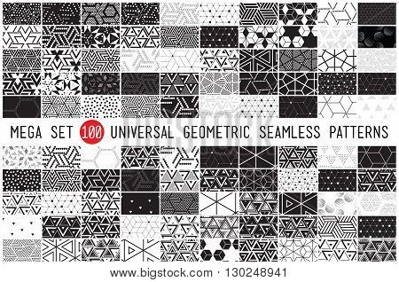100 Universal different geometric seamless patterns. Endless vector texture can be used for wrappingwallpaper pattern fills web page backgroundsurface textures. Set of monochrome geometric ornaments