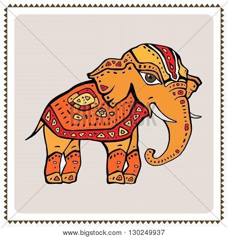 Elephant. Indian style Hand drawn detailed illustration.