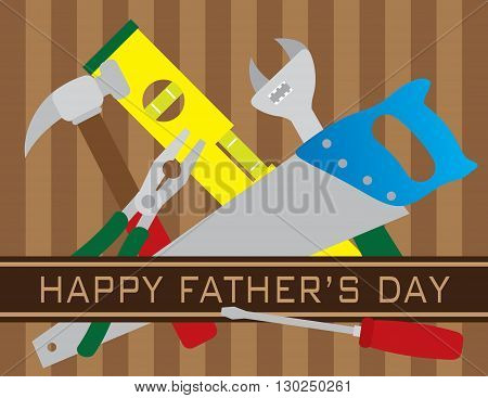 Happy Father's Day Text with Hammer Pliers Level Screwdriver Saw Wrench Tools on Brown Stripes Pattern Background Illustration