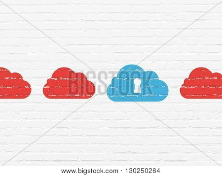 Cloud computing concept: row of Painted red cloud icons around blue cloud with keyhole icon on White Brick wall background