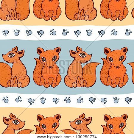 Vector cute fox pattern. Seamless cartoon background. Sitting foxes