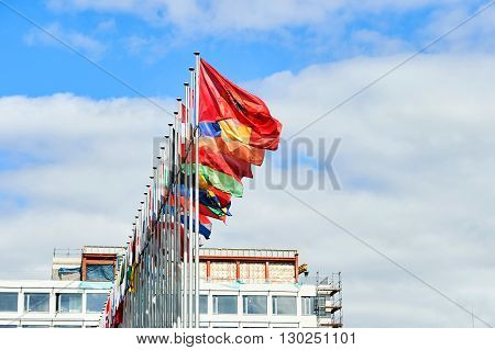 All Council of Europe member flags in a row a spring day