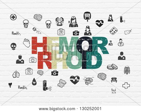 Health concept: Painted multicolor text Hemorrhoid on White Brick wall background with  Hand Drawn Medicine Icons