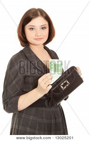 Woman With Banknotes Smiling