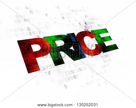 Advertising concept: Pixelated multicolor text Price on Digital background